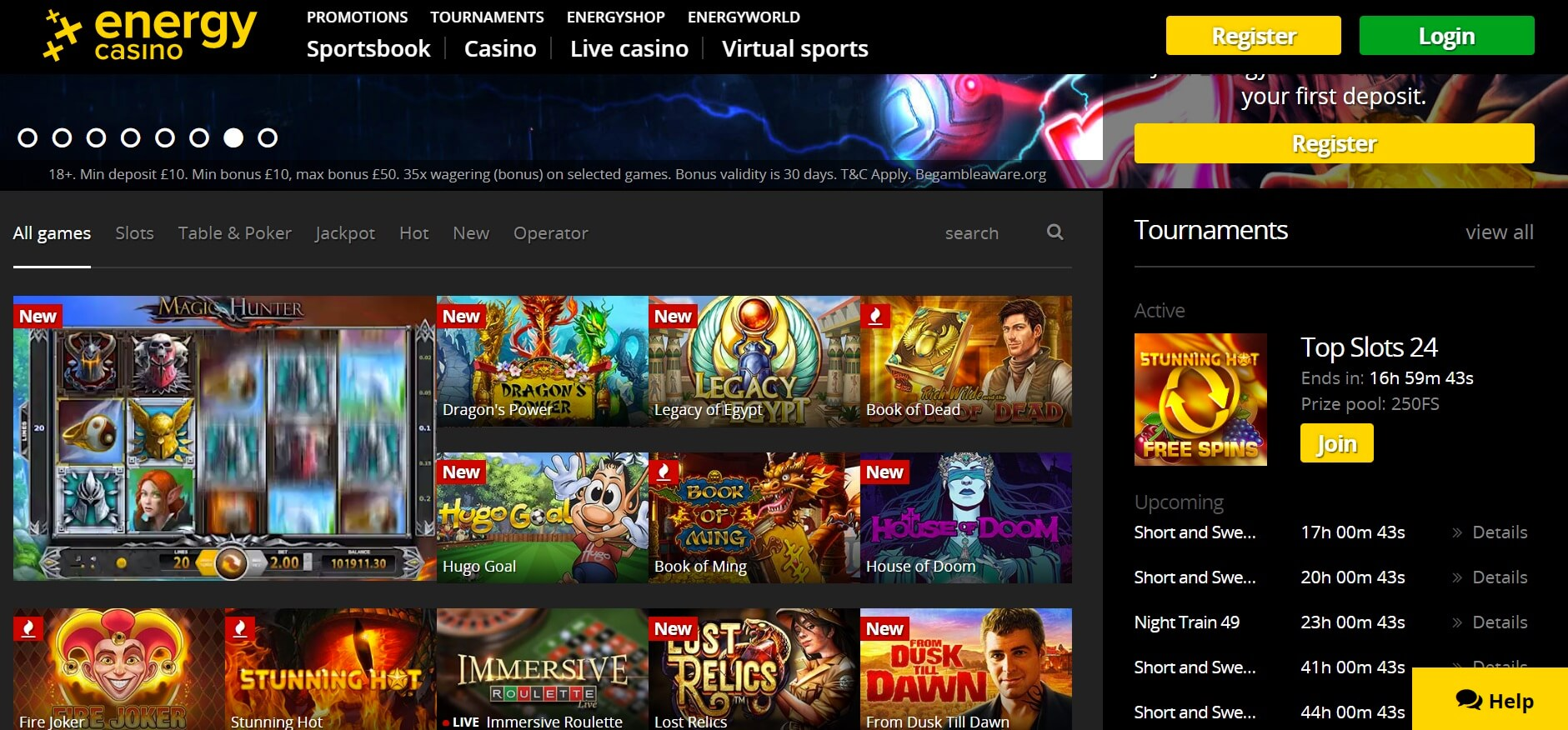 energy casino games and slots netent