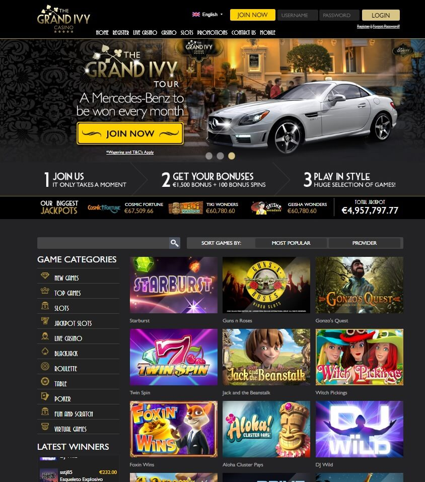 the grand ivy casino games and slots