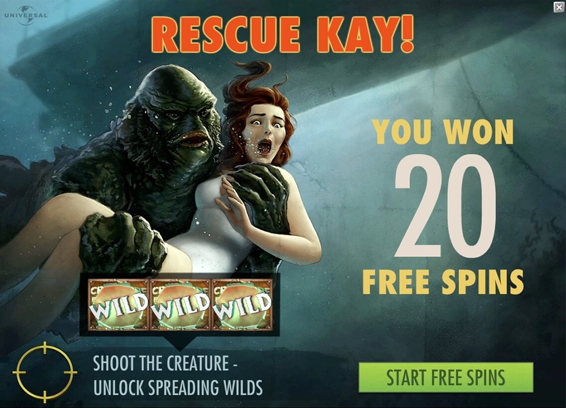 creature from the black lagoon slot free spins feature